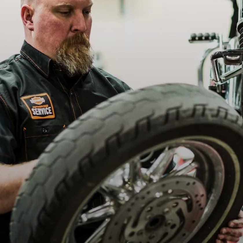 Mechanic Fixing Harley Bike