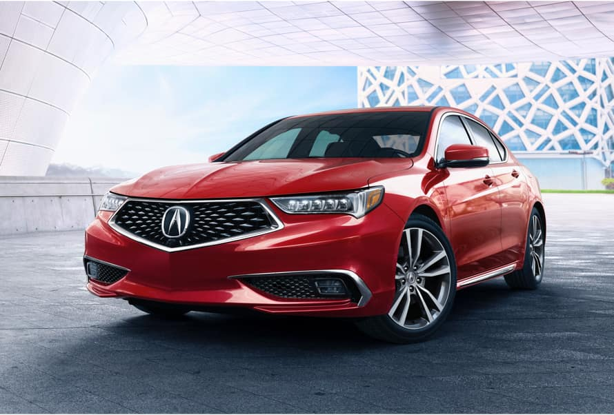 Acura Model Image - Red TLX parked inside