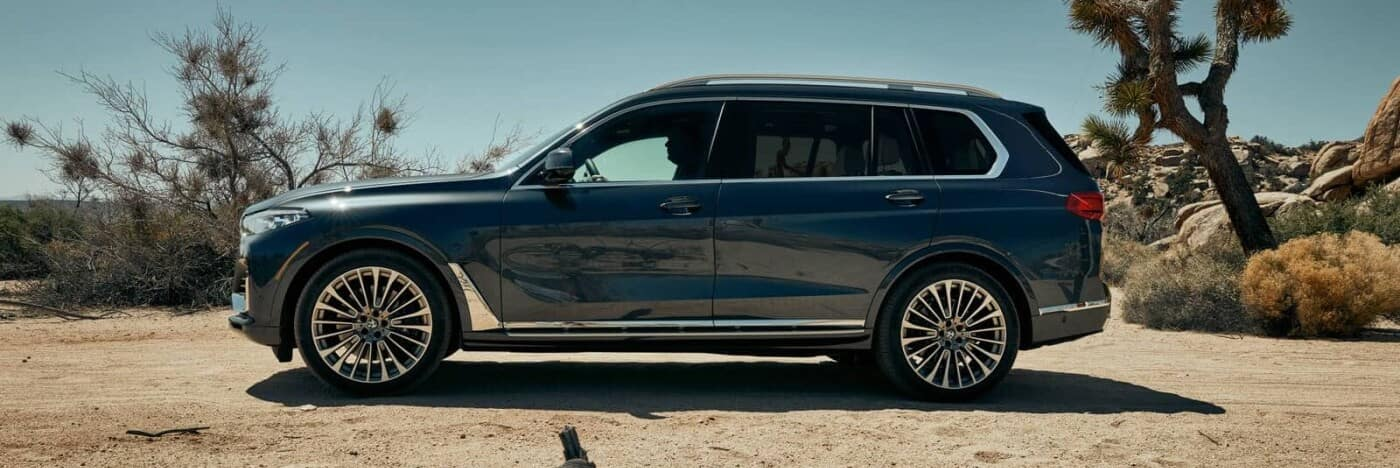 A 2020 BMW X7 parked in the desert