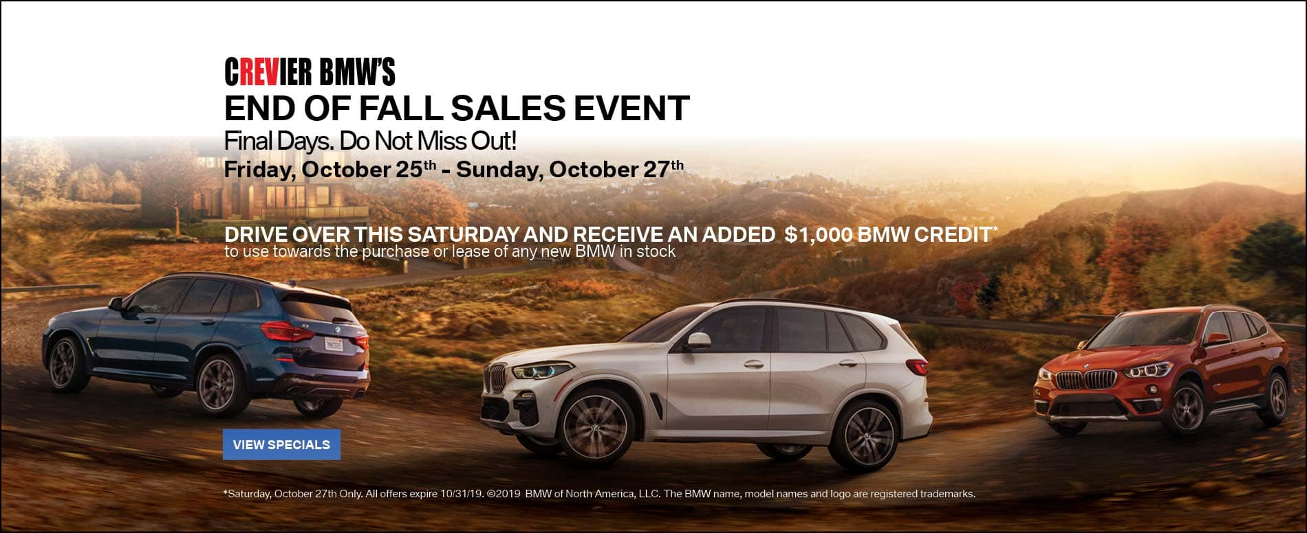 Crevier BMW End of Fall Sales Event