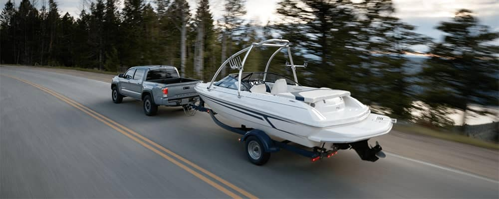 2020 Toyota Tacoma Towing a Speed Boat