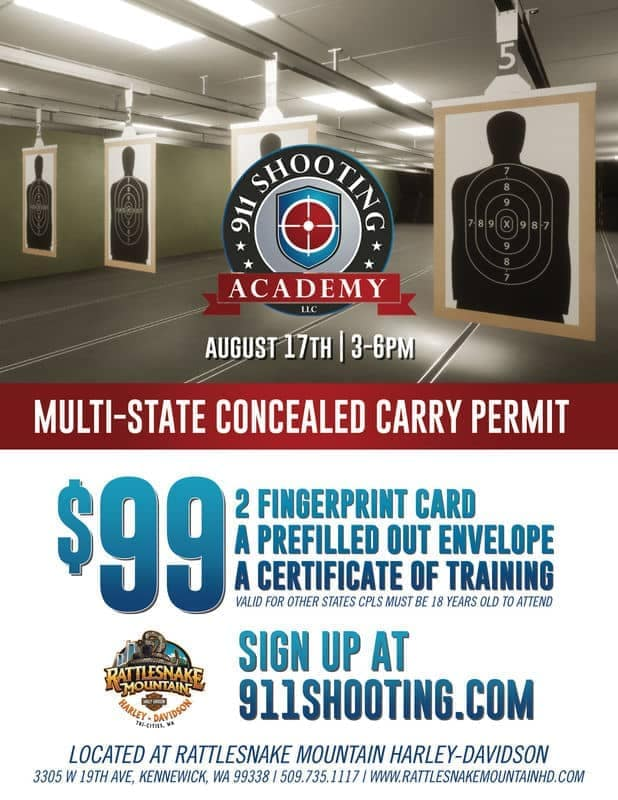 Earn your mult-state concealed carry permit at Rattlesnake Mountain Harley-Davidson on August 17, 2019.