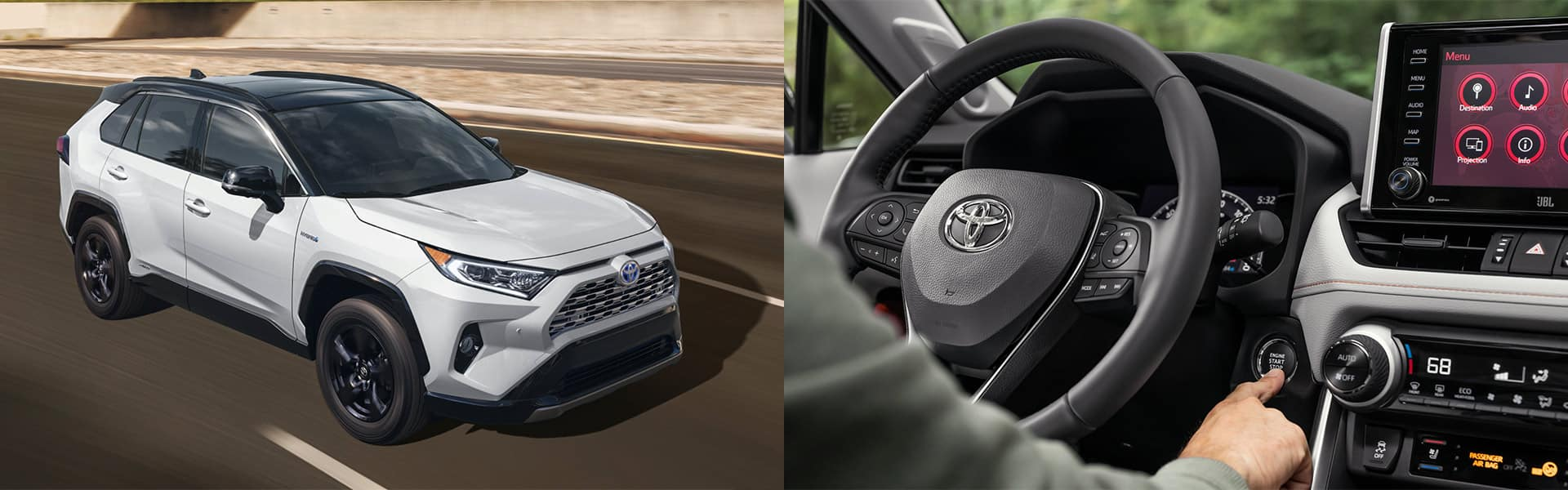 White Toyota Rav4 Hybrid driving on a highway with brick around on side. Next to Rav4 Hybrid with black interior