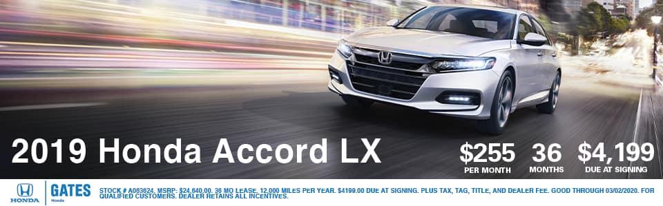 2019 Honda Accord LX Lease at Gates Honda