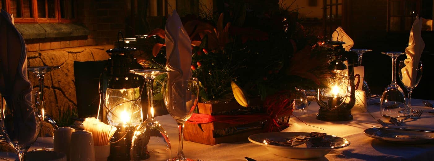rustic candlelight dinner