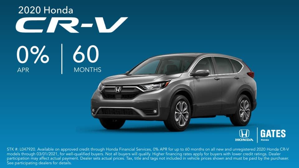 0% APR on Honda CR-V at Gates Honda