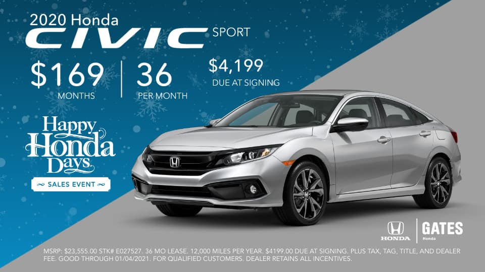 2020 Honda Civic Sport lease at Gates Honda in Richmond