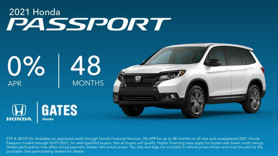 0% APR on Honda Passport at Gates Honda