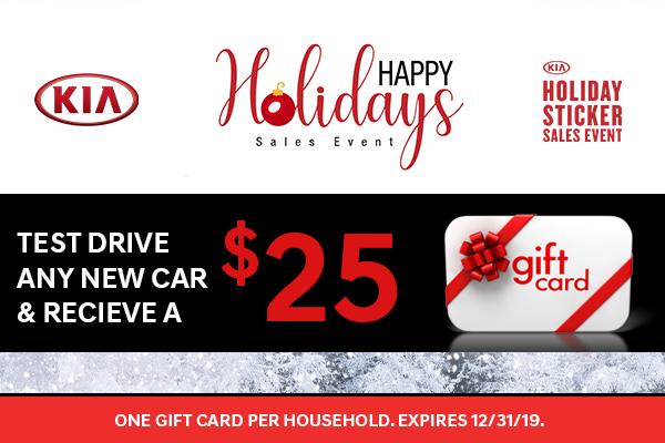 $25 Gift Card w/ Test drive