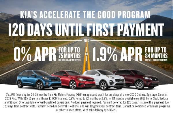 120 Days until 1st Payment + 0% APR for up to 75 months or 1.9% APR for 84 months