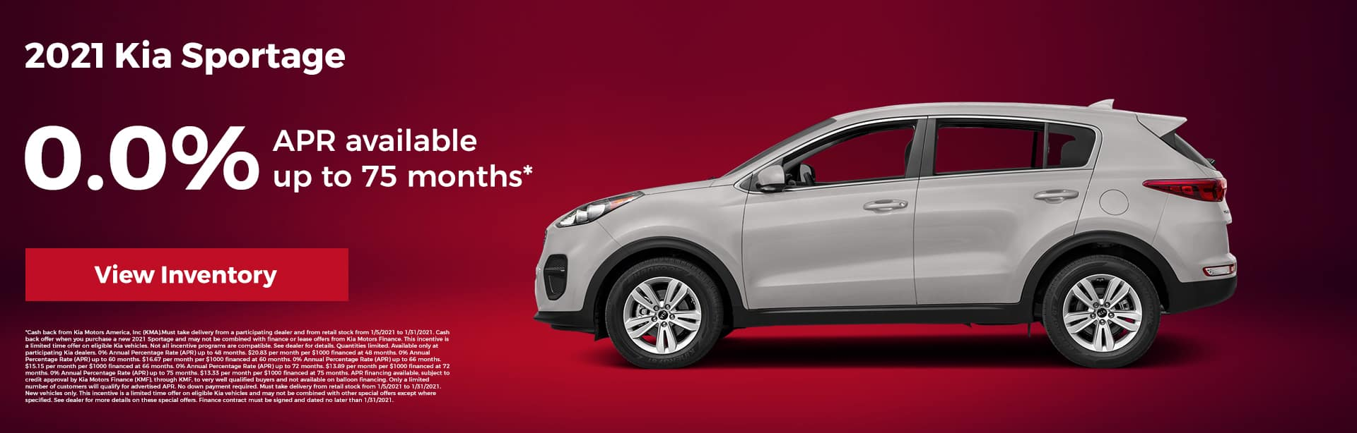 2021 Kia Sportage 0.0% APR financing up to 75 months*