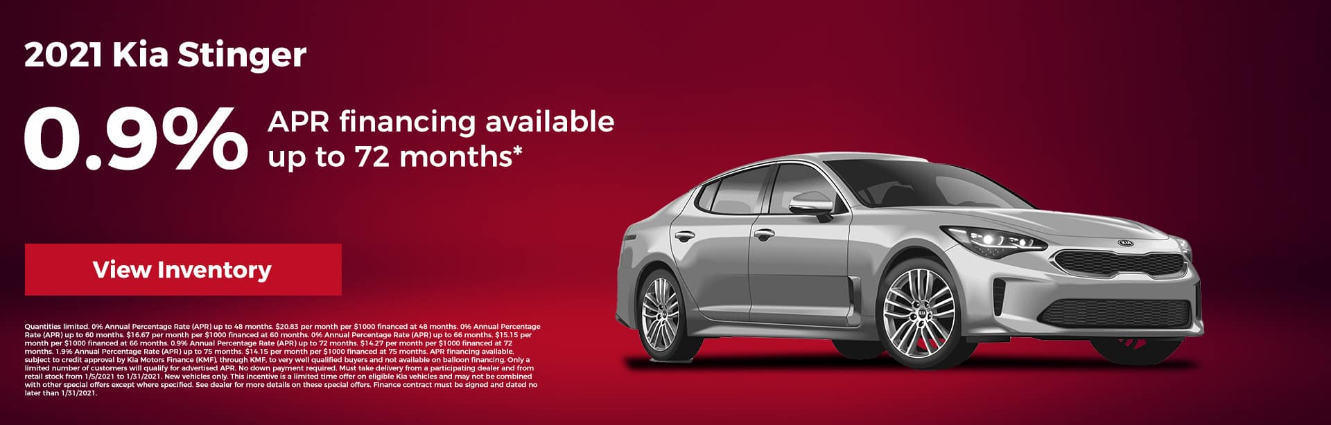 2021 Kia Stinger 0.9% APR financing available up to 72 months*