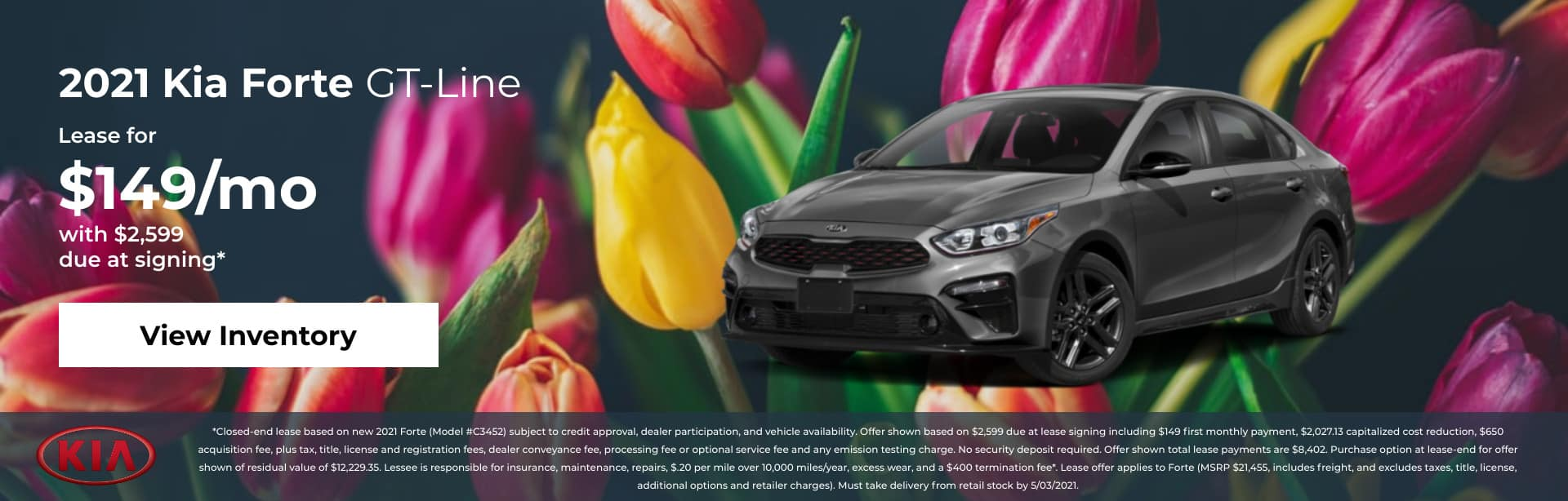 2021 Kia Forte GT-Line: Lease for $149/mo with $2,599 due at signing*