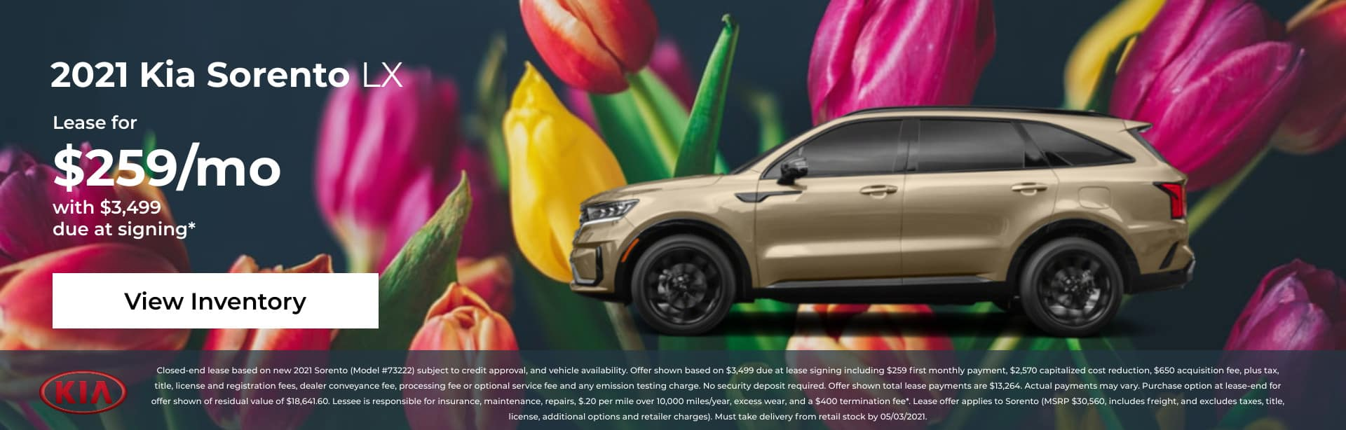 2021 Kia Sorento LX: Lease for $259/mo with $3,499 due at signing*