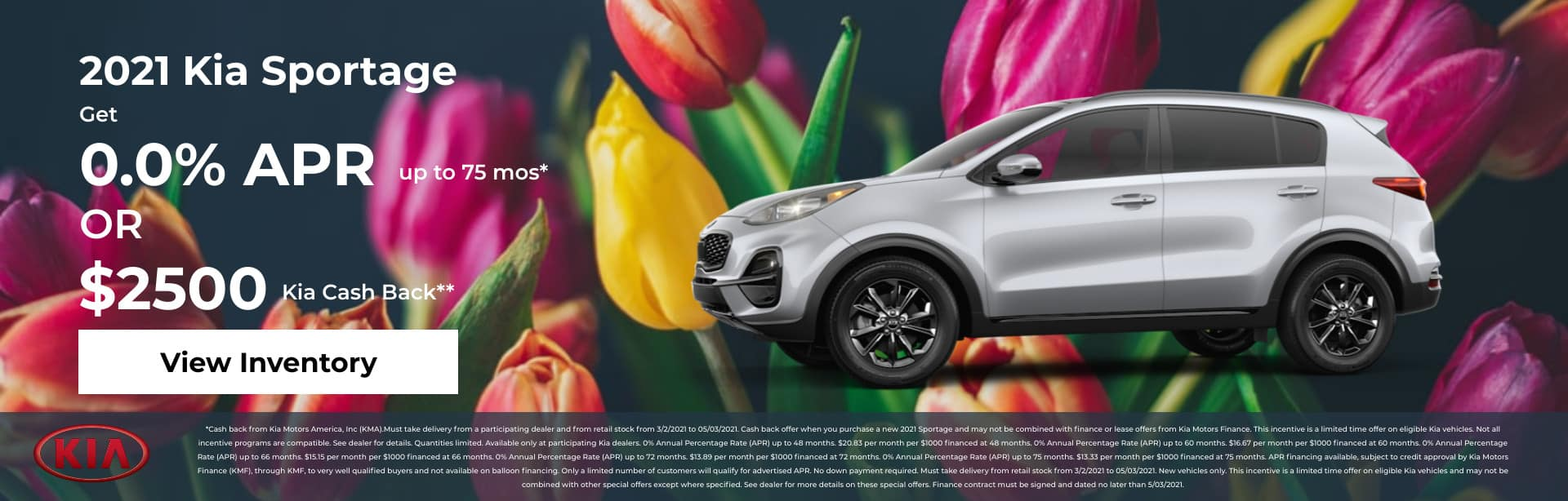 2021 Kia Sportage Get 0.0% APR up to 75 mos* OR $2,500 Kia Cash Back**