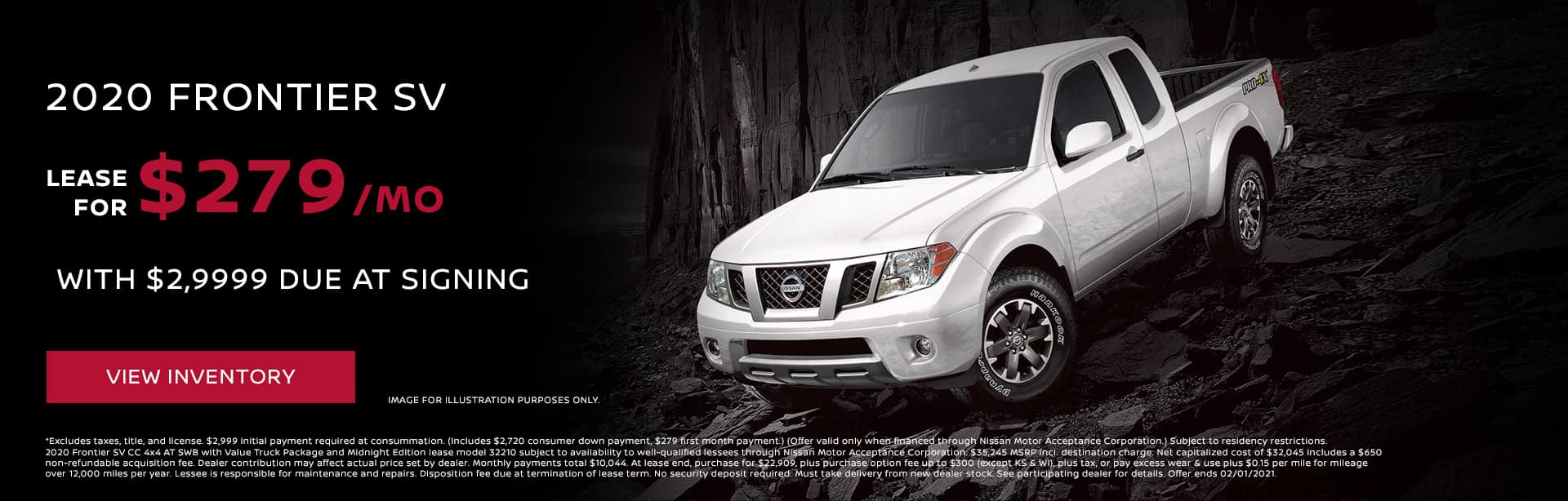 2020 Frontier SV Lease for $279/mo with $2,999 due at signing*