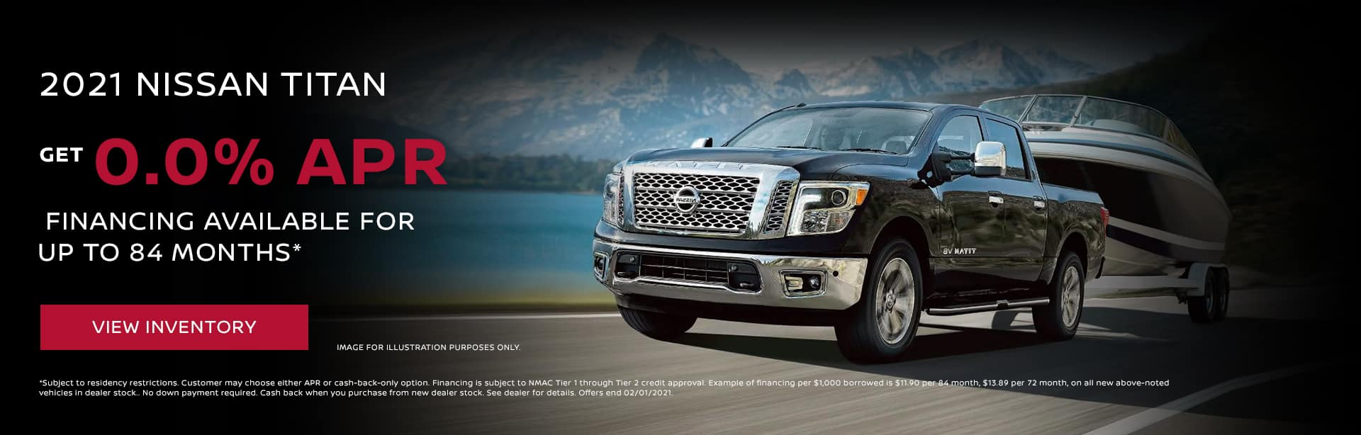 2021 Nissan Titan 0.0% APR financing available for up to 84 months*