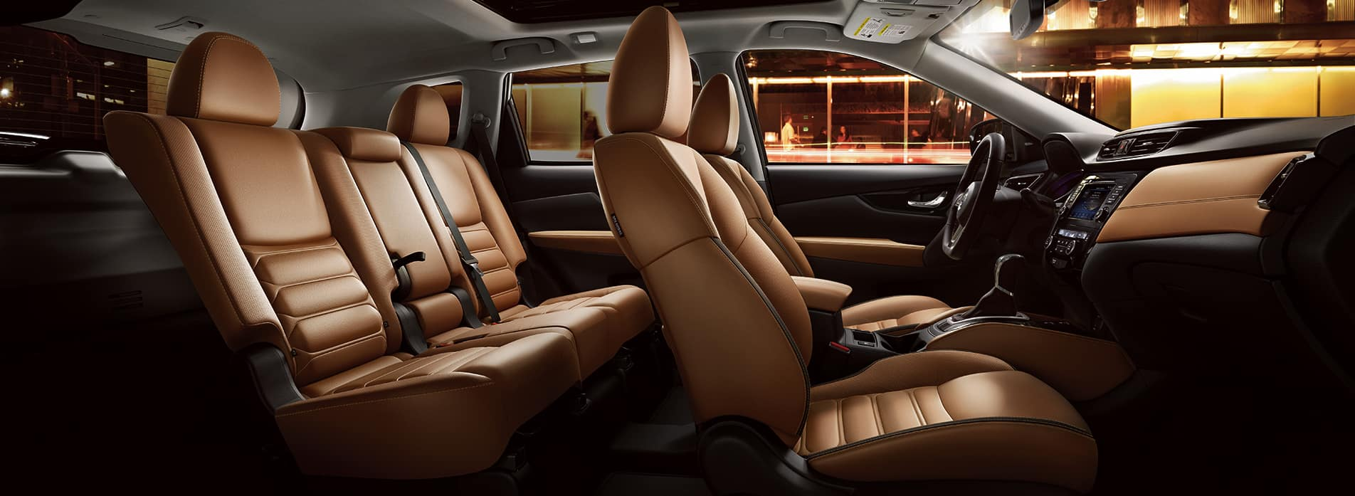 The 2020 Rogue model features at Hanover Nissan in Hanover   The brown leather interior of the 2020 rogue