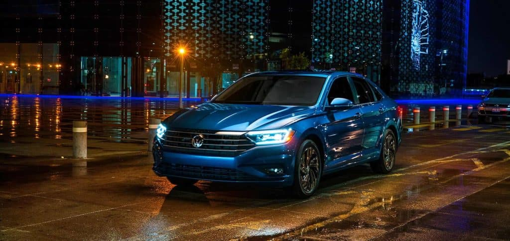 performance and safety features of the 2019 Volkswagen at hanover Volkswagen | Blue 2019 JETTA parked on the street