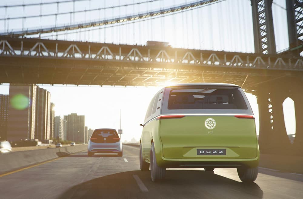 Vehicles of the Future: the ID., ID. CROZZ, and ID. BUZZ at Hanover Volkswagen  of Hanover | The rear view of the ID.BUZZ