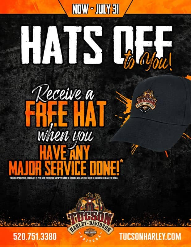 Hats off to you receive a free hat with service