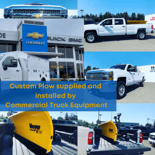 Custom snow plow supplied and installed by commercial truck equipment