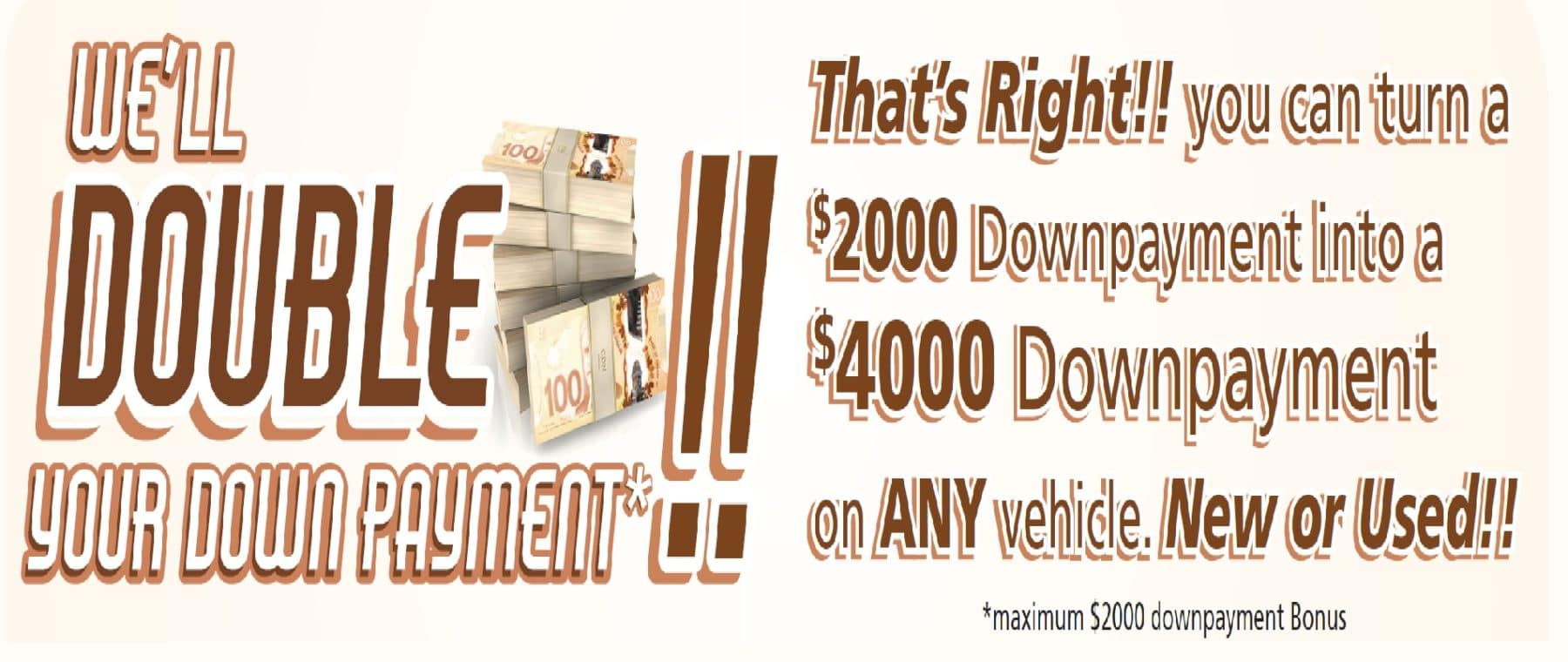 Banner image showing details of the Double Your Down Payment sale at Harris Oceanside GM