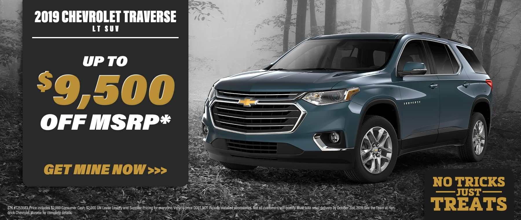 Chevy Traverse special banner with dark foggy trees in the background