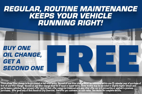 regular routine maintenance buy one oil change get a second one free