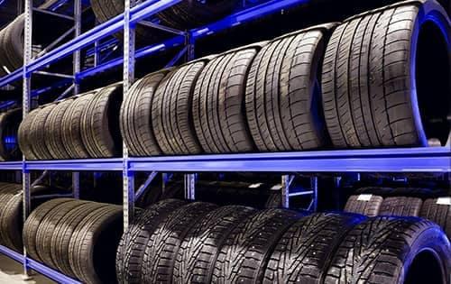 Rack full of tires