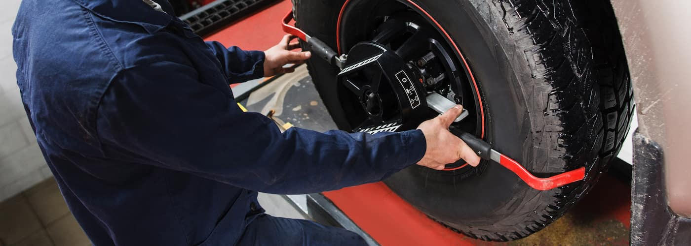 tire and wheel alignment close up
