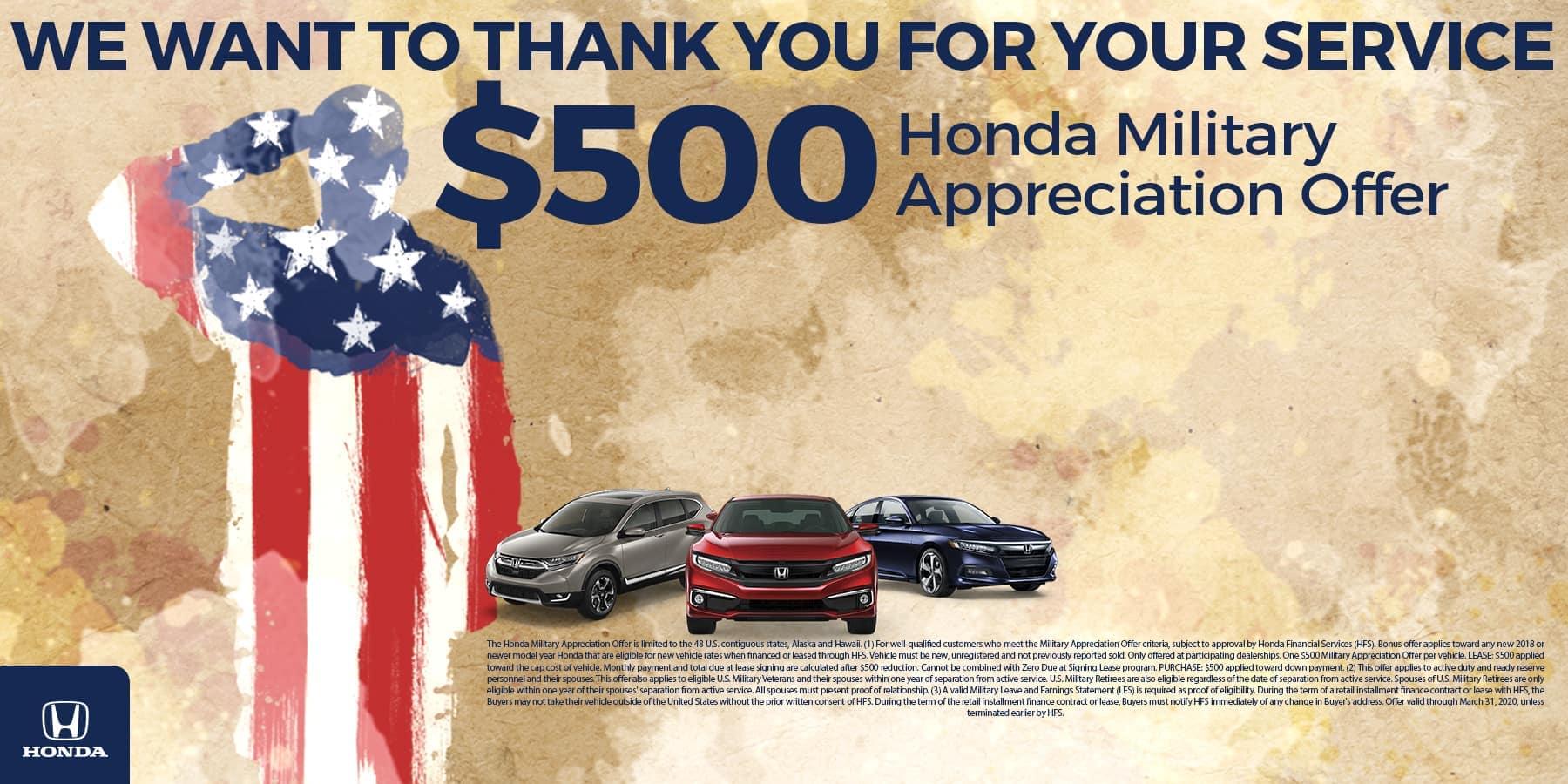 Saluting Star Spangled Soldier and Honda CR-V, Honda Civic, and Honda Accord