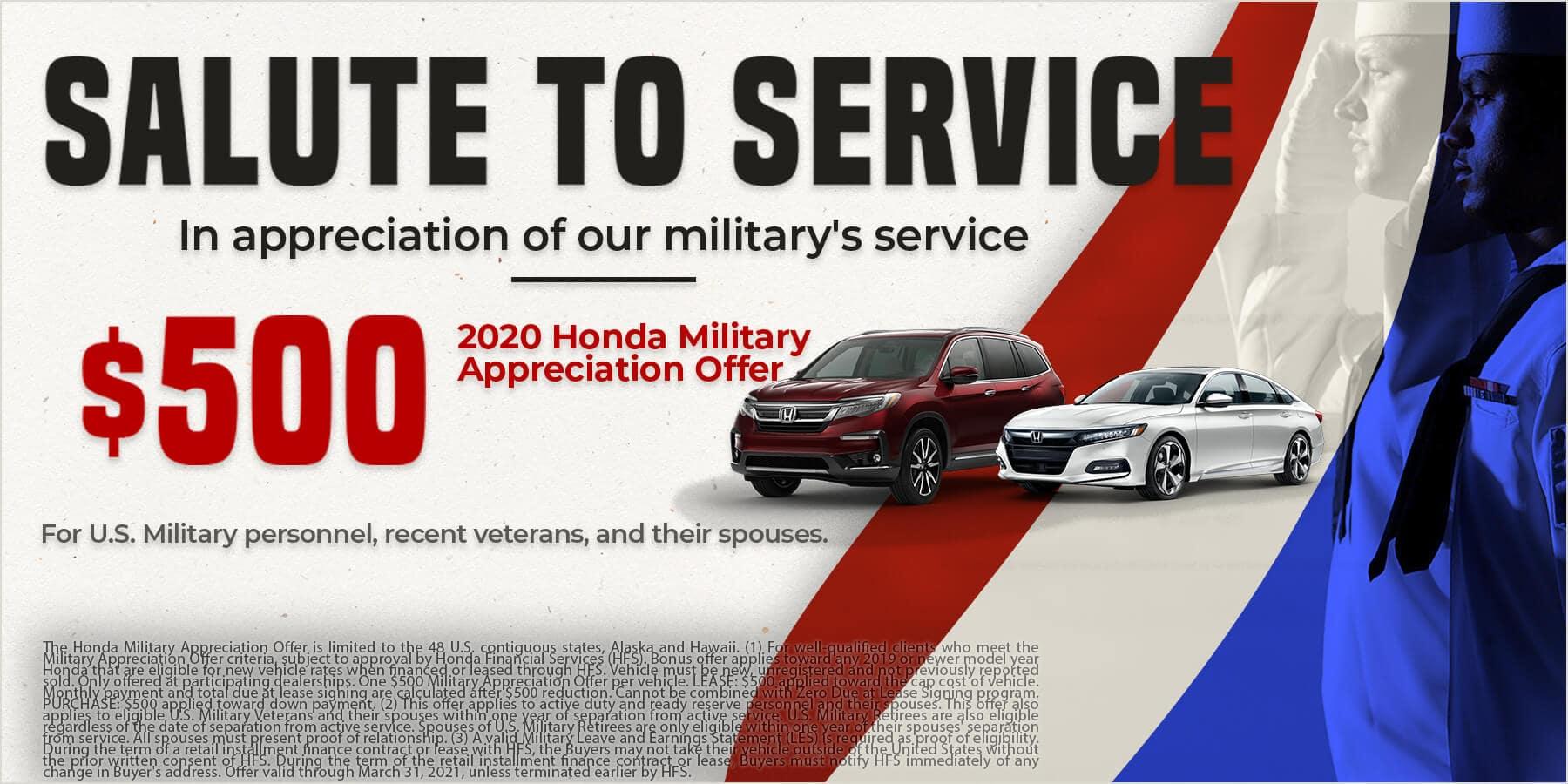 Honda Military $500 Special Offer