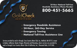 Gold Check Certification Roadside Assistance Card