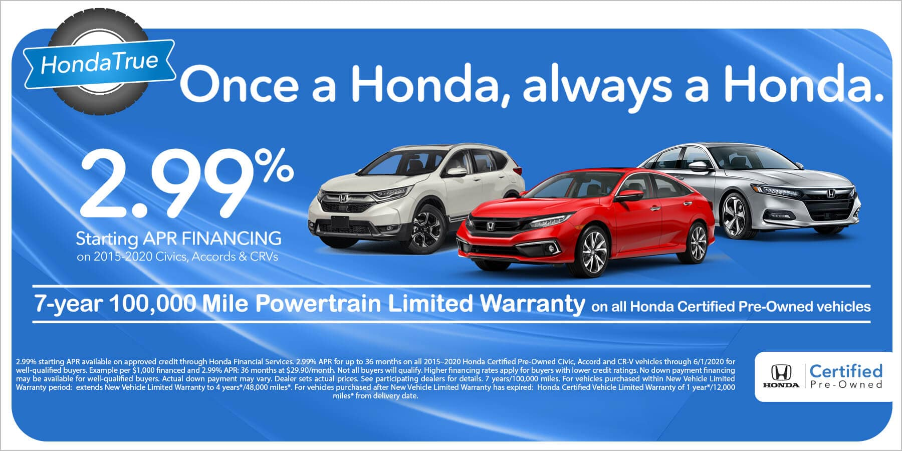 2.99% APR Financing on Select Certified Hondas