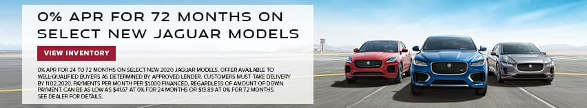 0% APR up to 72 months on select Jaguar models. Expires: 11-2-2020