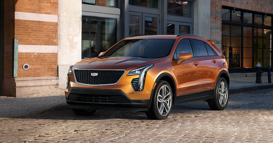 Style and Performance Features of the 2019 Cadillac XT4 at Jim Coleman Automotive | Front view of the orange 2019 Cadillac XT4
