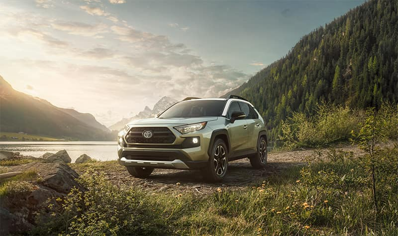 Performance features of the 2019 Toyota RAV4 at Jim Coleman Automotive | Sliver 2019 toyota RAV4 parked on grass