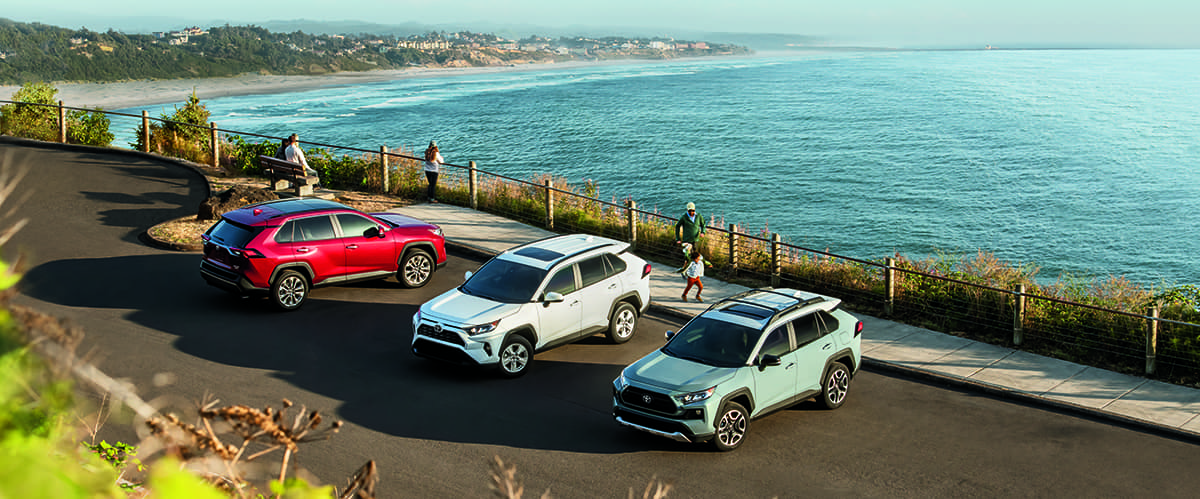 Performance features of the 2019 Toyota RAV4 at Jim Coleman Automotive | Red, white, blue, 2019 toyota RAV4 parked near the beach