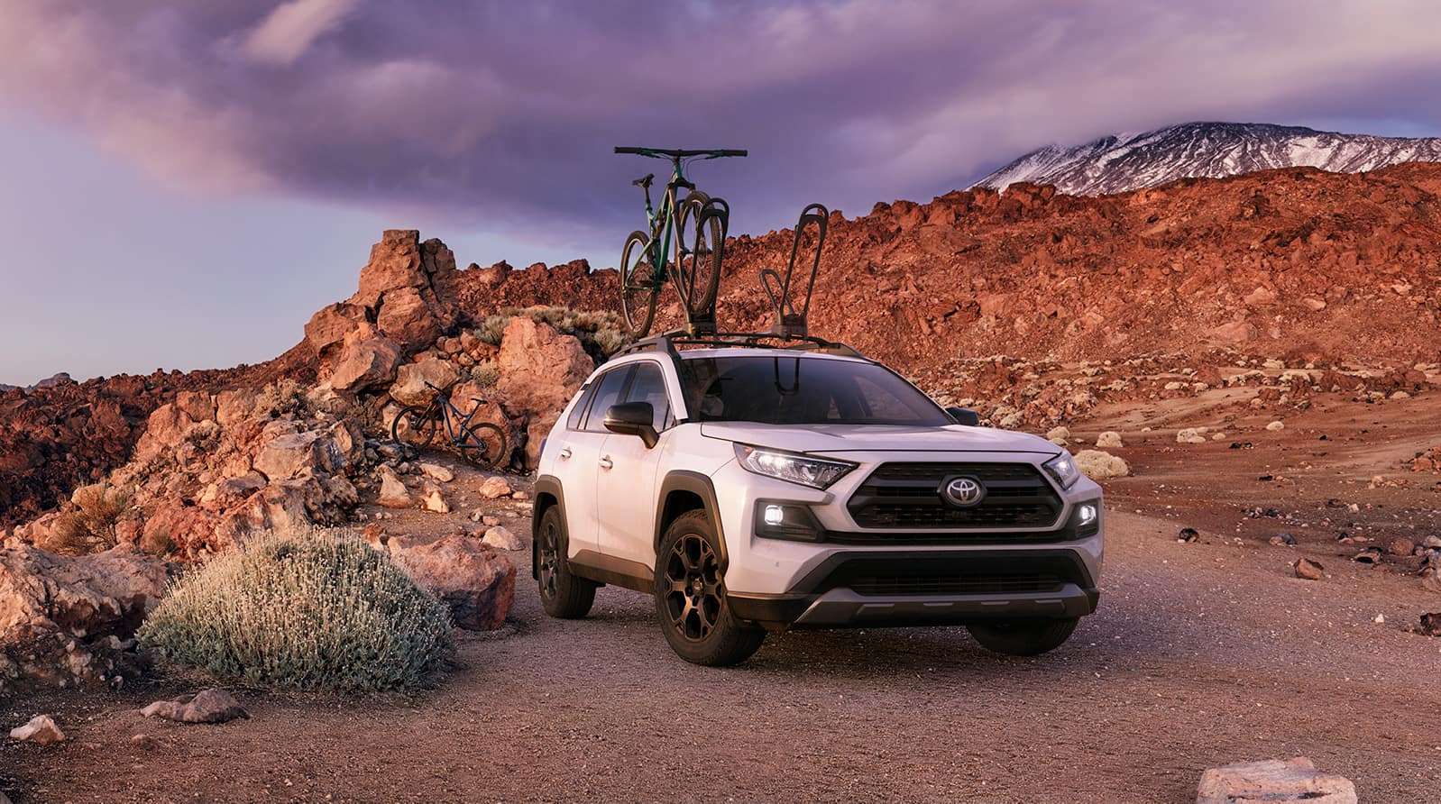Performance features of the 2020 Toyota RAV4 at Jim Coleman | white 2020 RAV4 parked on mountain terrain