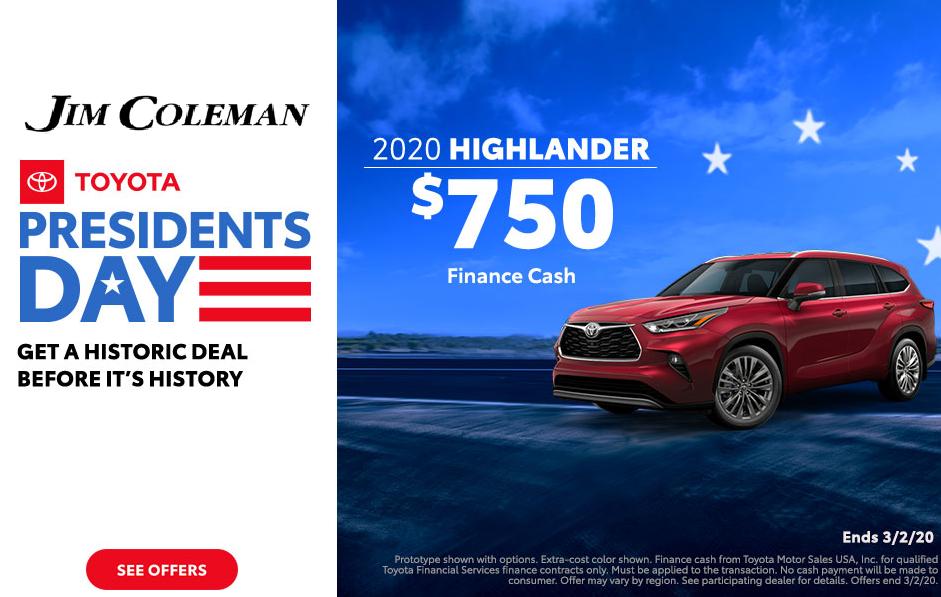 Jim Coleman Presidents Day Toyota 2020 Highlander