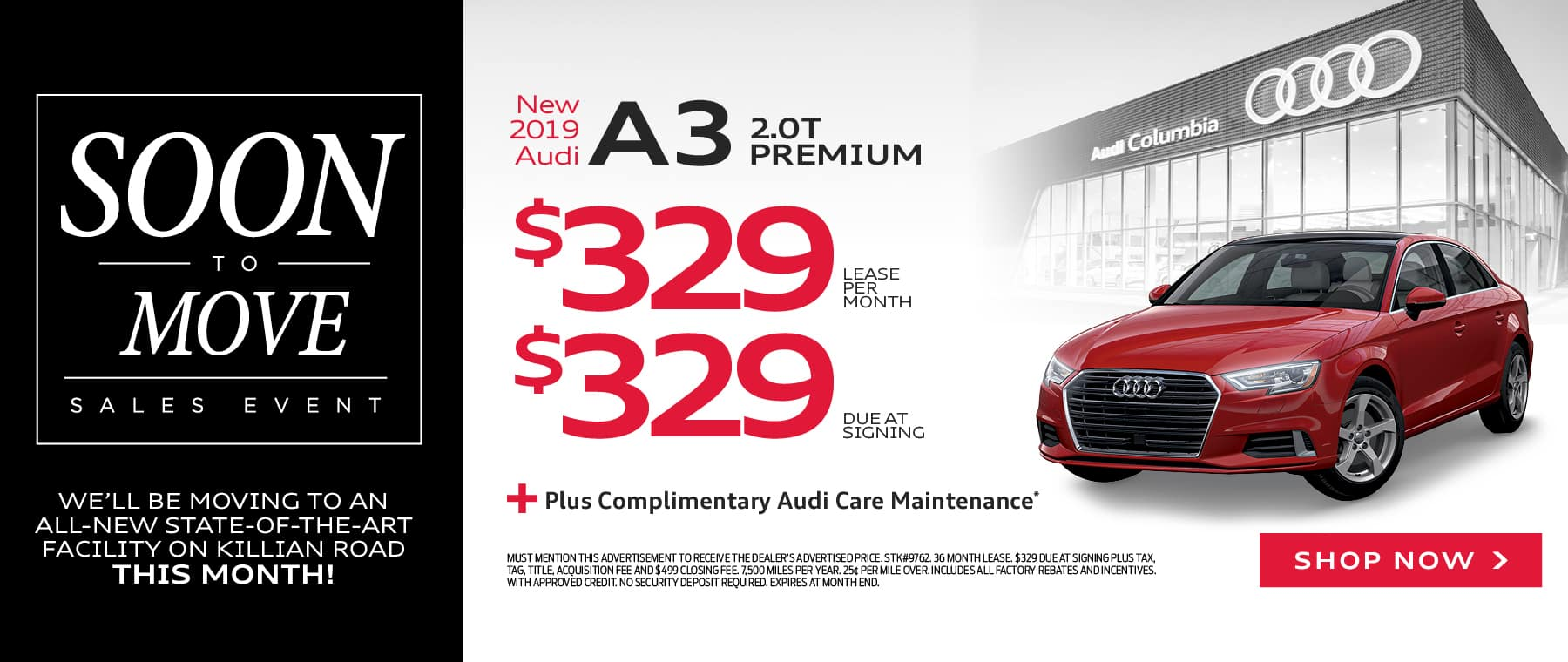 OCT SOON TO MOVE Audi a3