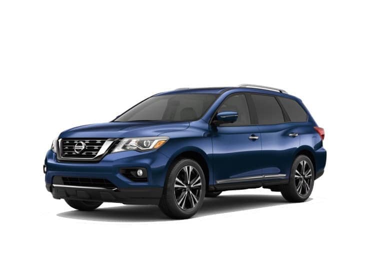 A blue 2020 Nissan Pathfinder Platinum