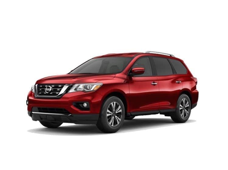 A red 2020 Nissan Pathfinder SV
