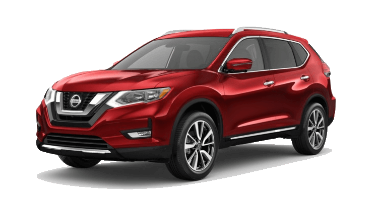 A red 2020 Nissan Rogue SL