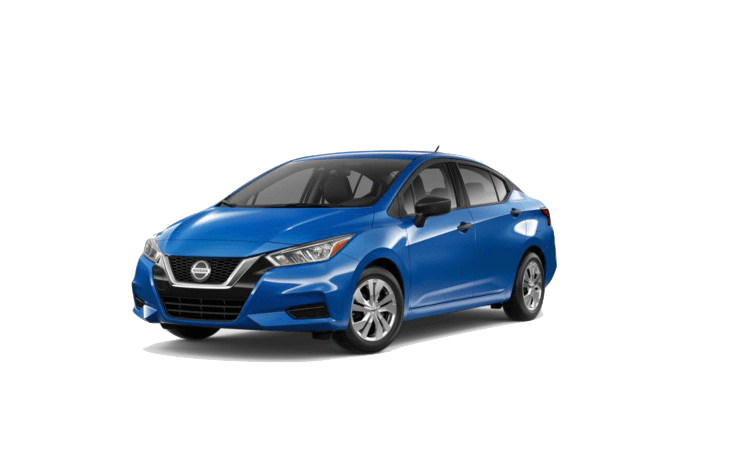 A blue 2020 Nissan Versa S