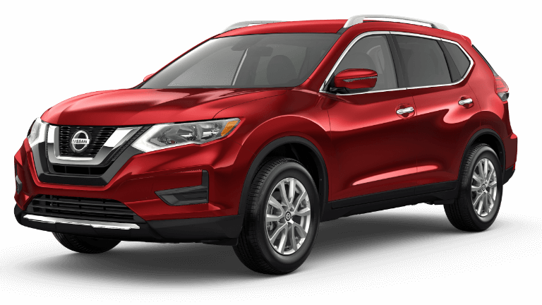 A red 2019 Nissan Rogue SV