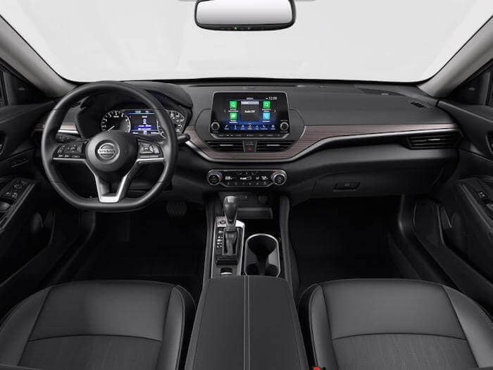 Charcoal Leather Interior of the 2020 Nissan Altima