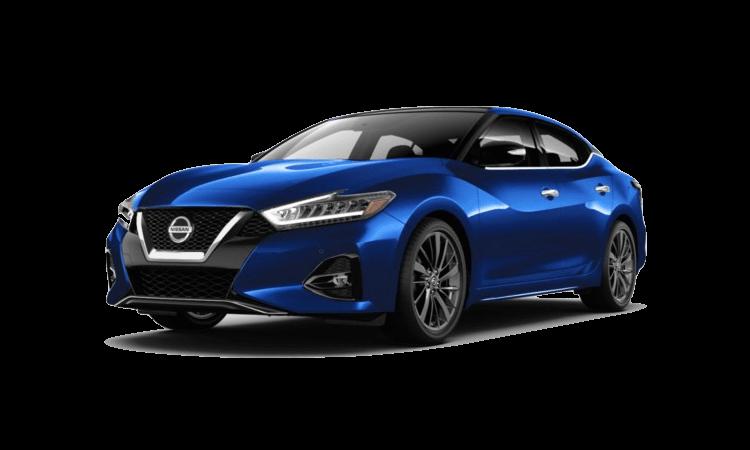 A blue 2020 Nissan Maxima Platinum Reserve