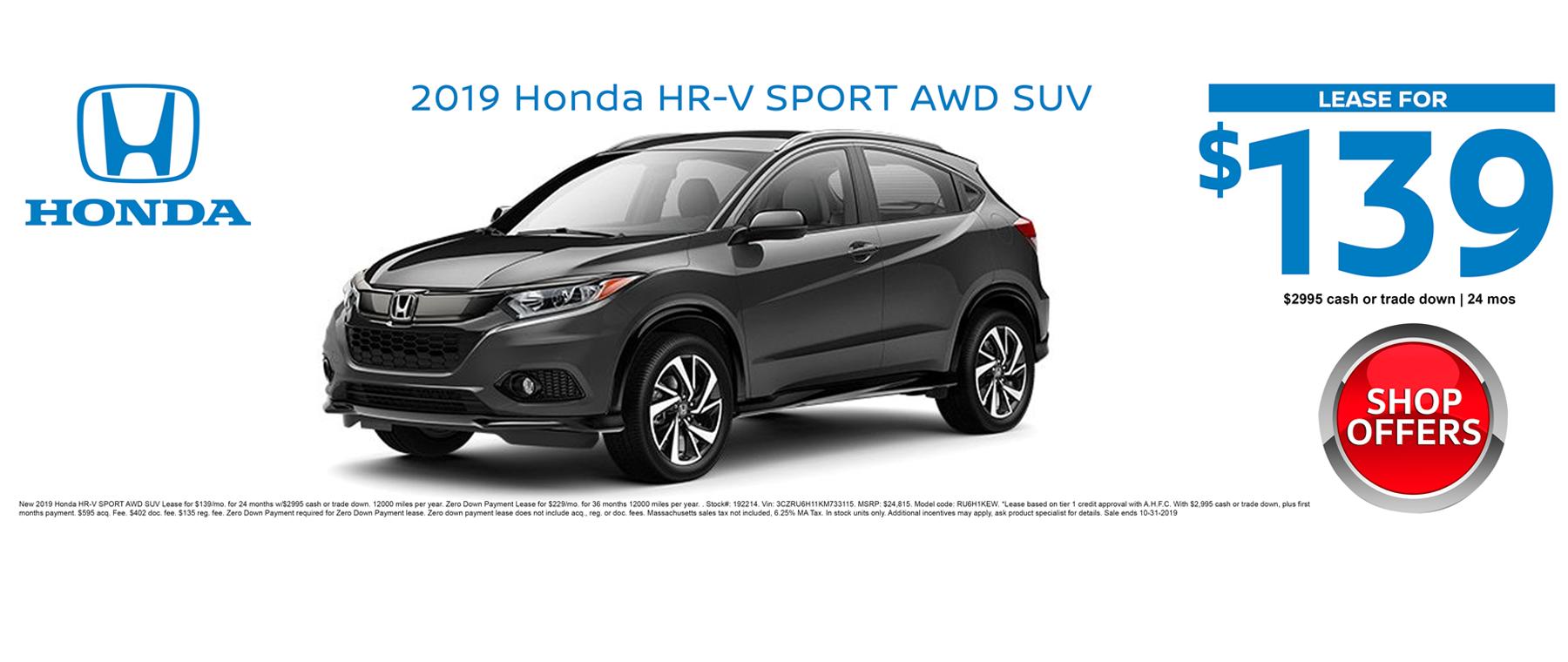 2019 Honda HR-V Crossover October 2019 Lease Special